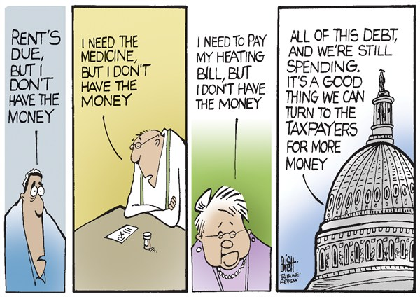 NO MONEY HERE © Randy Bish,Pittsburgh Tribune-Review,DEBT,GOVERNMENT,TAXES,Debt Ceiling