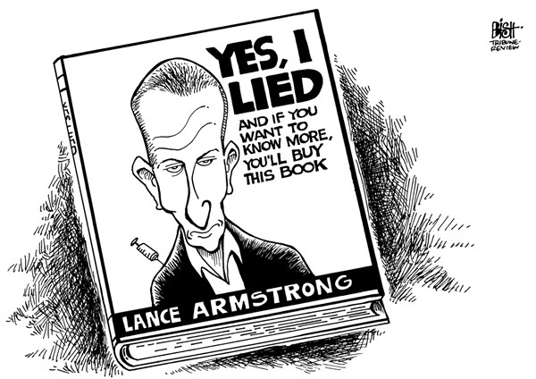 Randy Bish - Pittsburgh Tribune-Review - LANCE ARMSTRONG CONFESSES, B/W - English - LANCE ARMSTRONG, OPRAH, GUILTY, CONFESS, DOPING, DRUGS