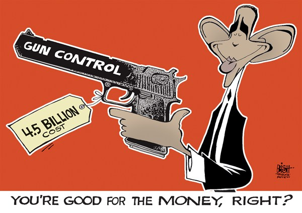 Randy Bish - Pittsburgh Tribune-Review - THE COST OF GUN CONTROL, COLOR - English - GUN, GUN CONTROL, OBAMA, GUNS, LAWS