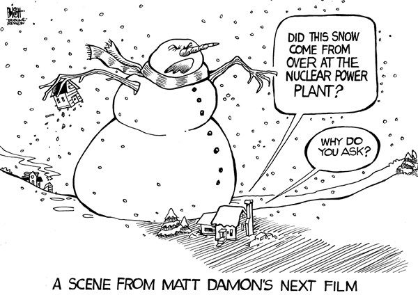 Randy Bish - Pittsburgh Tribune-Review - LOCAL, PA- NUCLEAR SNOW, B/W - English - PENNSYLVANIA, NUCLEAR, POWER PLANT, SNOW, MATT DAMON, FRACKING, FILM, GAS, POWER