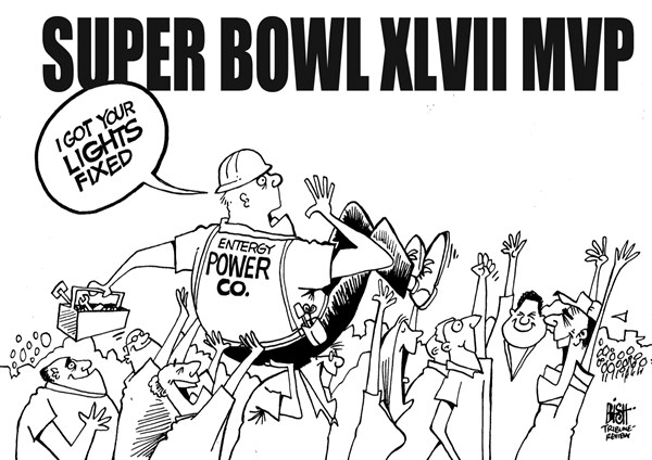 Randy Bish - Pittsburgh Tribune-Review - SUPER BOWL MVP 2013, B/W - English - SUPER BOWL, MVP, POWER OUTAGE, NFL, FOOTBALL, NEW ORLEANS, POWER, 2013