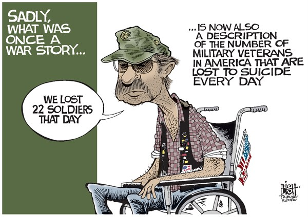 126642 600 SUICIDES AND MILITARY VETERANS cartoons
