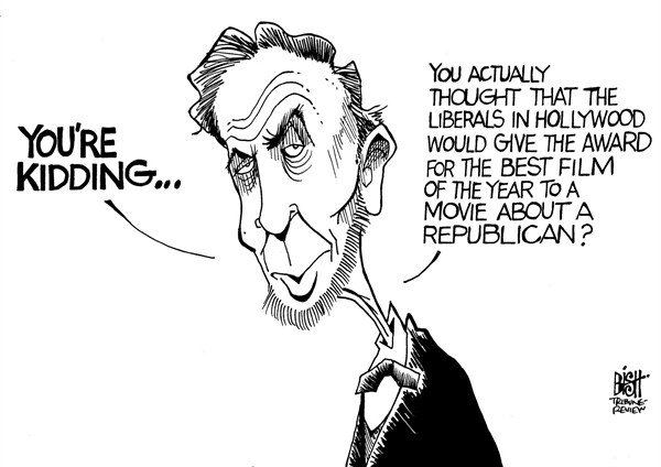 Randy Bish - Pittsburgh Tribune-Review - LINCOLN LOSES AT THE OSCARS, B/W - English - LINCOLN, SPIELBERG, OSCAR, OSCARS, ACADEMY AWARDS, REBUBLICAN, LIBERAL, HOLLYWOOD