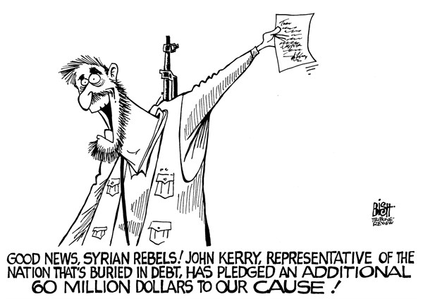Randy Bish - Pittsburgh Tribune-Review - AID TO SYRIA, B/W - English - SYRIA, REBELS, OPPOSITION, AID, JOHN KERRY, ASSISTANCE, FOREIGN AID
