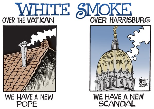 Randy Bish - Pittsburgh Tribune-Review - LOCAL- PA- SCANDAL, COLOR - English - PENNSYLVANIA, GOVERNMENT, SCANDAL, TURNPIKE, POPE, VATICAN, WHITE SMOKE