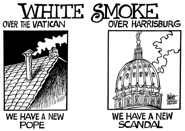 Randy Bish - Pittsburgh Tribune-Review - LOCAL- PA- SCANDAL, B/W - English - PENNSYLVANIA, GOVERNMENT, SCANDAL, TURNPIKE, POPE, VATICAN, WHITE SMOKE