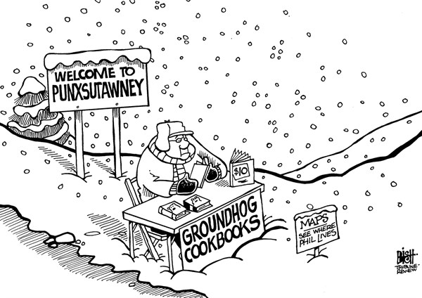 Randy Bish - Pittsburgh Tribune-Review - SPRING IN PUNXSUTAWNEY, B/W - English - PUNXSUTAWNEY, PHIL, GROUNDHOG, SPRING, SNOW, COLD, PREDICTION, WINTER