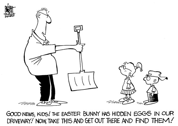 Randy Bish - Pittsburgh Tribune-Review - SNOW FOR EASTER, B/W - English - SNOW, EASTER, WINTER, SPRING