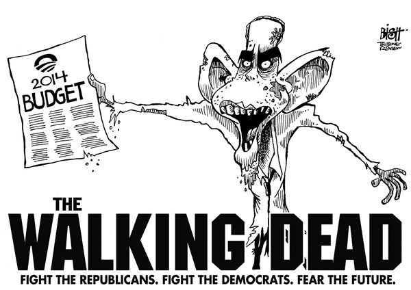 Randy Bish - Pittsburgh Tribune-Review - THE WALKING DEAD BUDGET, B/W - English - OBAMA, BUDGET, 2014, REPUBLICANS, DEMOCRATS