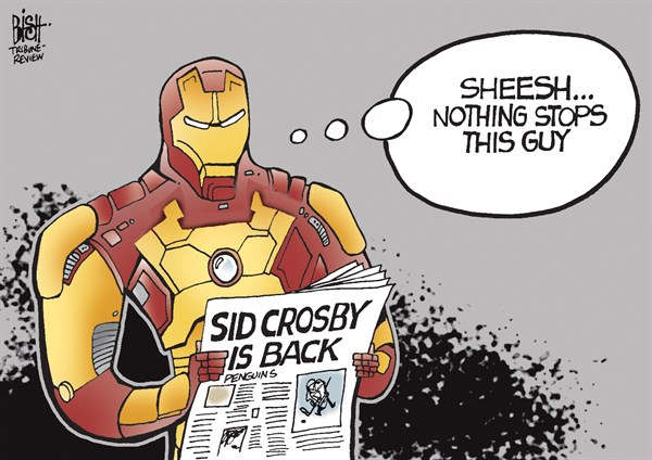 Randy Bish - Pittsburgh Tribune-Review - SID CROSBY RETURNS, COLOR - English - SID COSBY, PENGUINS, PITTSBURGH, PITTSBURGH PENGUINS, STANLEY CUP, IRON MAN, INJURED