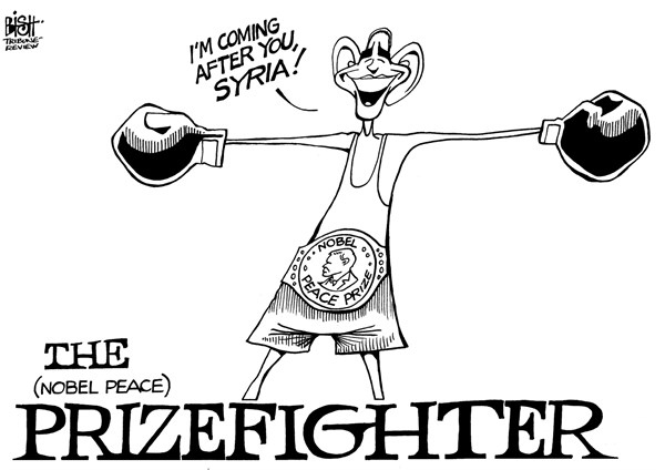 Randy Bish - Pittsburgh Tribune-Review - THE PRIZEFIGHTER, B/W - English - OBAMA, SYRIA, ASSAD, BOMBING, WAR, CHEMICAL WEAPONS, NOBEL PEACE PRIZE