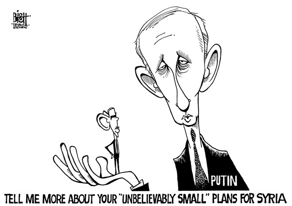 Randy Bish - Pittsburgh Tribune-Review - PUTIN AND OBAMA, B/W - English - PUTIN, OBAMA, RUSSIA, UNITED STATES, AMERICA, SYRIA, UNBELIEVABLY SMALL, KERRY, ATTACK