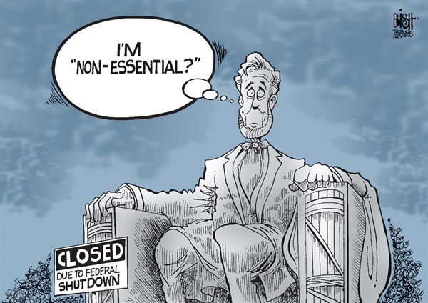 Randy Bish - Pittsburgh Tribune-Review - NONESSENTIAL SHUTDOWNS, COLOR - English - NON-ESSENTIAL, GOVERNMENT, WORKERS, EMPLOYEES, SHUTDOWN, FEDERAL, NATIONAL, PARKS, MEMORIALS, LINCOLN, CONGRESS