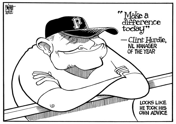 Randy Bish - Pittsburgh Tribune-Review - CLINT HURDLE, PITTSBURGH PIRATES, B/W - English - PITTSBURGH, PITTSBURGH PIRATES, PIRATES, CLINT HURDLE, MANAGER, SPORTING NEWS, MANAGER OF THE YEAR, NATIONAL LEAGUE, BASEBALL