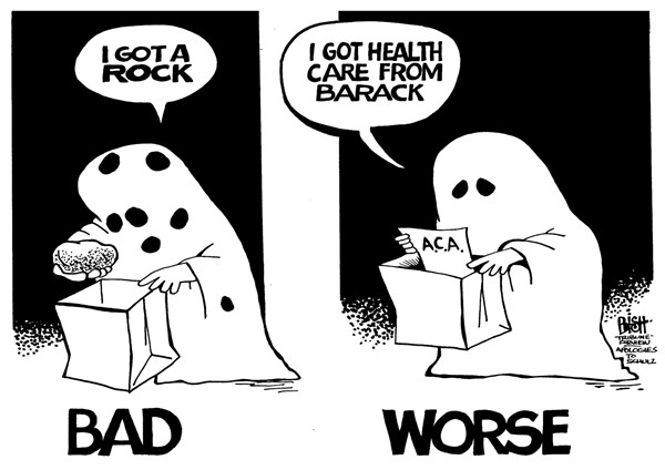 Randy Bish - Pittsburgh Tribune-Review - A ROCK AND AN EXPENSIVE PLACE, B/W - English - OBAMACARE, HEALTH CARE, HALLOWEEN