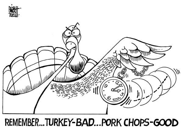 Randy Bish - Pittsburgh Tribune-Review - RECONSIDER TURKEY, B/W - English - TURKEY, THANKSGIVING, HOLIDAY, MEAL, DINNER, MEAT