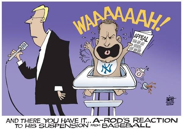 Randy Bish - Pittsburgh Tribune-Review - A-ROD SUSPENDED, COLOR - English - ALEX RODRIGUEZ, A-ROD, BASEBALL, SUSPENDED, SUSPENSION, DRUGS, STEROIDS, PERFORMANCE ENHANCING, YANKEES