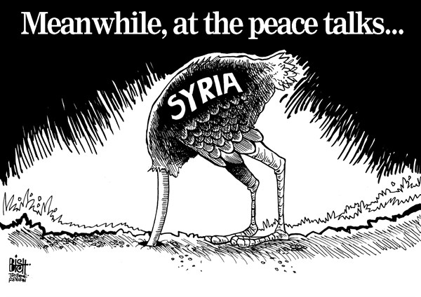 Randy Bish - Pittsburgh Tribune-Review - SYRIA PEACE TALKS, B/W - English - SYRIA, PEACE, TALKS, UNITED NATIONS, AMERICA, UNITED STATES, ASSAD, GOVERNMENT