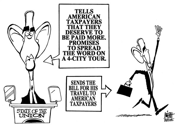 Randy Bish - Pittsburgh Tribune-Review - POST-STATE OF THE UNION TOUR, B/W - English - STATE OF THE UNION, OBAMA, SPEECH, STATE OF THE UNION ADDRESS, CONGRESS, TRAVEL