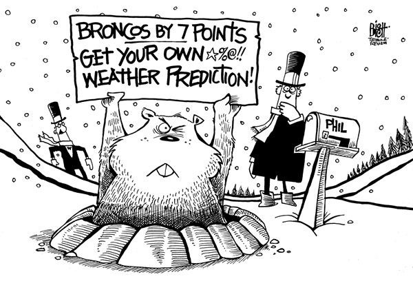 Randy Bish - Pittsburgh Tribune-Review - GROUNDHOG DAY/ SUPER BOWL, B/W - English - GROUNDHOG DAY, SUPER BOWL, FOOTBALL, SEAHAWKS, BRONCOS, SEATTLE, DENVER, PUNXSUTAWNEY PHIL