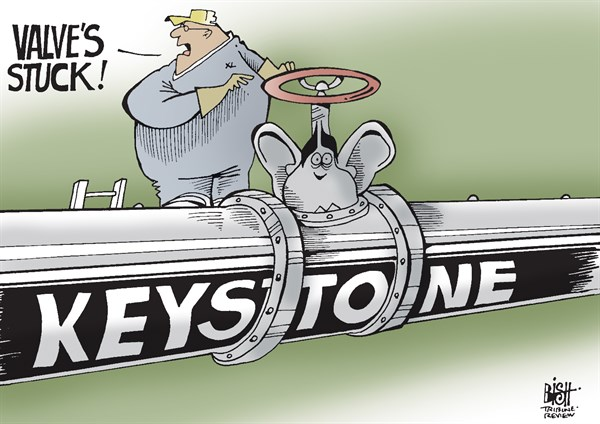 Randy Bish - Pittsburgh Tribune-Review - KEYSTONE PIPELINE, COLOR - English - 		KEYSTONE,PIPELINE,KEYSTONE XL,OIL,CANADA,UNITED STATES,OBAMA
