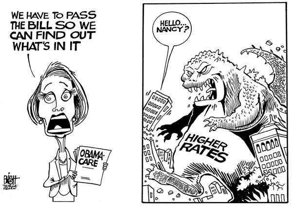 PELOSI AND HEALTH CARE © Randy Bish,Pittsburgh Tribune-Review,PELOSI, NANCY PELOSI, OBAMACARE, HEALTH CARE, COSTS, INSURANCE, RATES, OBAMA