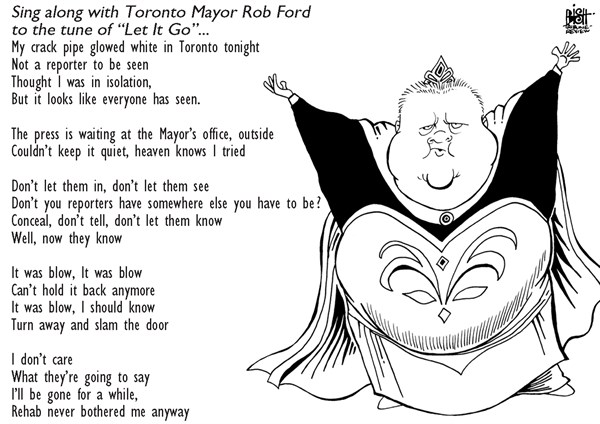 Randy Bish - Pittsburgh Tribune-Review - ROB FORD SINGS THE MUSIC OF FROZEN, B/W - English - TORONTO, MAYOR, ROB FORD, CRACK, COCAINE, DRUGS, REHAB, CANADA, FROZEN
