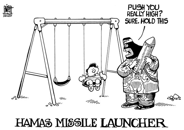 Randy Bish - Pittsburgh Tribune-Review - HAMAS AND CHILDREN, B/W - English - HAMAS, CHILDREN, ISRAEL, MISSILE, ATTACK, WAR, GAZA
