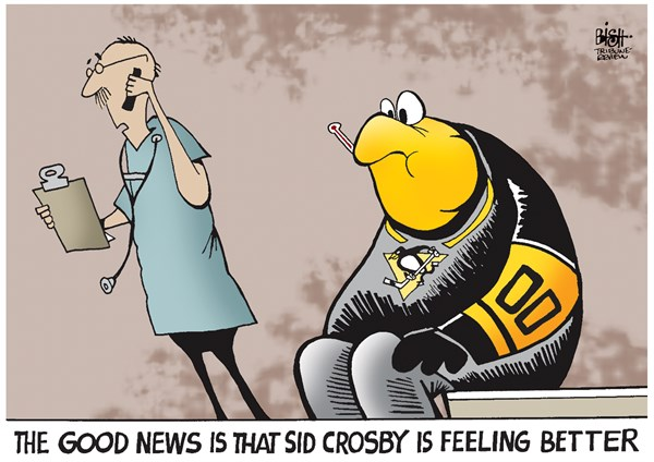 SID CROSBY AND THE PENGUINS GET THE MUMPS © Randy Bish,Pittsburgh Tribune-Review,SID CROSBY, SIDNEY CROSBY, NHL, HOCKEY, PITTSBURGH, PENGUINS, MUMPS, DISEASE