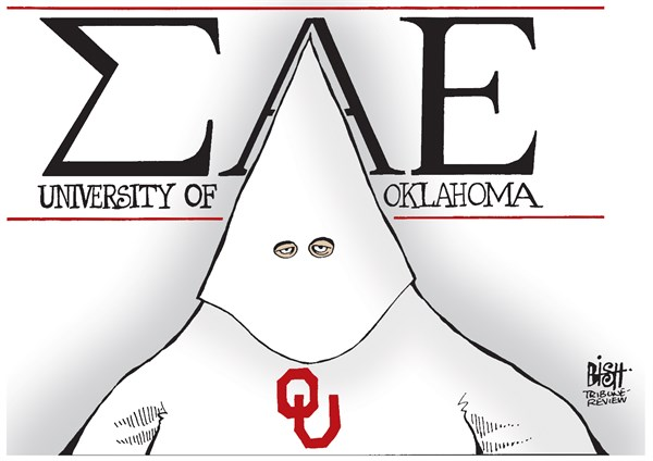 RACISM IN OKLAHOMA © Randy Bish,Pittsburgh Tribune-Review,RACIST, RACISM, UNIVERSITY OF OKLAHOMA, OKLAHOMA, BLACK, FRAT, FRATERNITY, SIGMA ALPHA EPSILON, COLLEGE