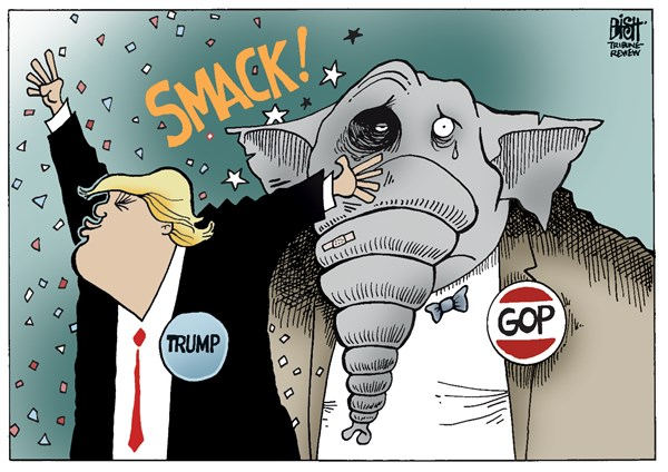 Randy Bish - Pittsburgh Tribune-Review - TRUMP AND THE GOP, COLOR - English - DONALD TRUMP, REPUBLICAN, REPUBLICANS, GOP, ELECTION, CAMPAIGN, PRESIDENT