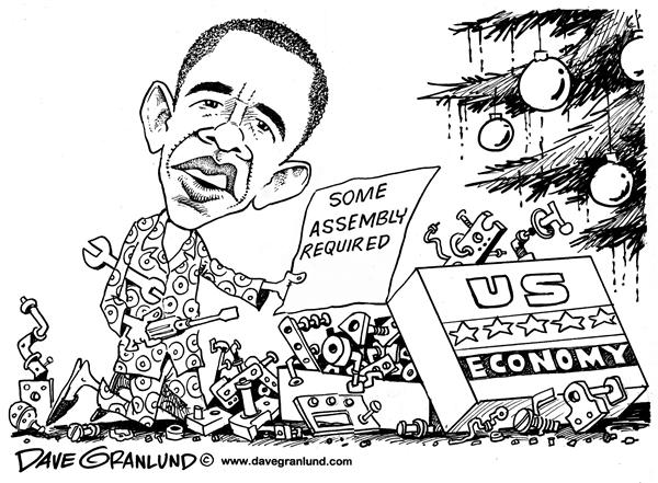 Dave Granlund - Politicalcartoons.com - Economy in pieces - English - Obama,Obama economy,economy fix,economy pieces,