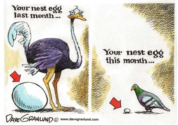 Dave Granlund - Politicalcartoons.com - Nest eggs - English - Nest egg, savings, investments, retirement accounts, IRAs, 401k