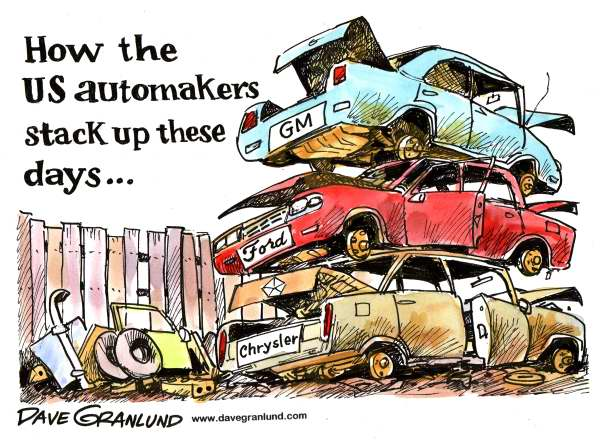 Dave Granlund - Politicalcartoons.com - How US automakers stack up - English - automakers, detroit 3, detroit automakers, auto bailout, junkyard, detroit scrap heap