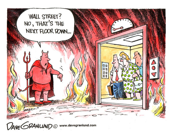 Dave Granlund - Politicalcartoons.com - Wall Street and Hell - English - Wall street, hell, stock drop, stocks drop, wall st plunge, stock market, wall st losses, low stocks