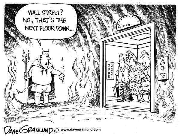 Dave Granlund - Politicalcartoons.com - Wall Street and Hell - English - Wall street plunge, wall st, stock market crash, stock market dive, wall st losses, Hell on Wall St, investors, investments