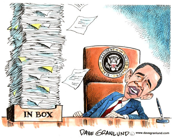 Dave Granlund - Politicalcartoons.com - President Obama on 1st day - English - Obama, President obama, oval office, barack obama