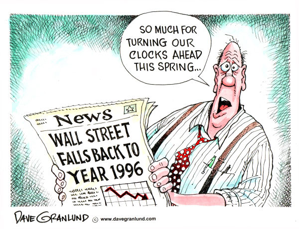 Dave Granlund - Politicalcartoons.com - Spring Ahead and Fall Back on Wall St - English - wall street, recession, stock market, time change, daylight savings, depression, economy, economic crisis, investments, clocks change, spring ahead, fall back