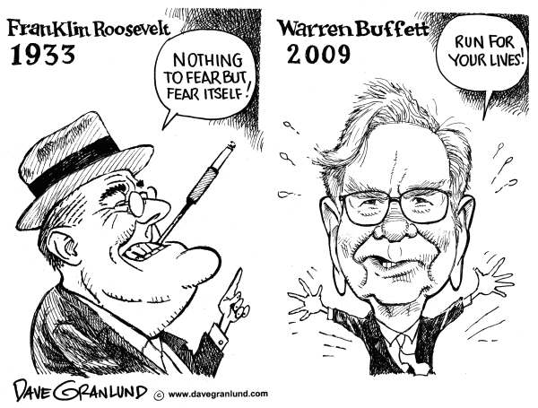 Dave Granlund - Politicalcartoons.com - FDR and Warren Buffett - English - FDR, FDR fear, Warren Buffett, recession, the depression, the great depression, stock market, US economy, wall streetBuffett, berkshire hathaway, roosevelt, franklin roosevelt