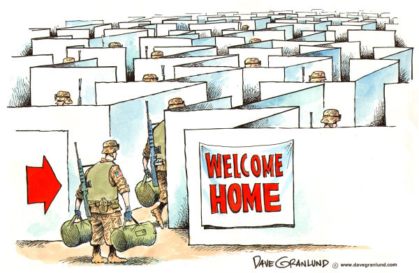 Dave Granlund - Politicalcartoons.com - Returning Troops - English - Returning troops, troops return, Iraq exit, out of iraq, gi return, troops out, marines return, iraq withdrawal