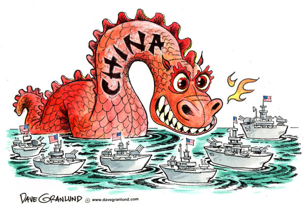 Dave Granlund - Politicalcartoons.com - China and US naval tension - English - china, us navy, china us navies, china confront, ocean standoff