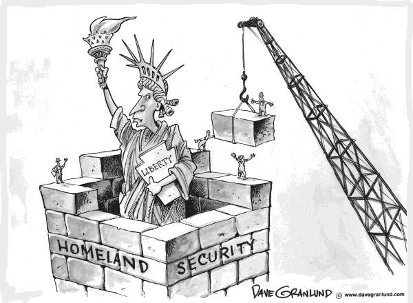 Dave Granlund - Politicalcartoons.com - Homeland Security and Liberty - English - Homeland security, terrorism, liberty, statue of liberty,defense us, border fences, illegal aliens, border crossings, border patrol