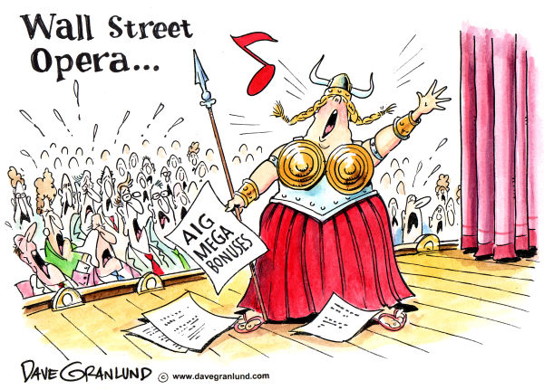 Dave Granlund - Politicalcartoons.com - The Fat Lady Sings on Wall St - English - Fat lady sings, aig bonuses, wall street bonuses, greed, wall street fat cats, gian bonuses, aig, wall street, stock market, executive pay, executive bonuses