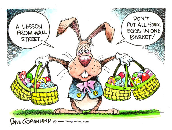 Easter Eggs and Wall Street © Dave Granlund,Politicalcartoons.com,easter, easter eggs, easter rabbit, easter bunny, wall street, holiday, easter basket, easter candy, easter egg hunt, stock market, investments, stocks, recession