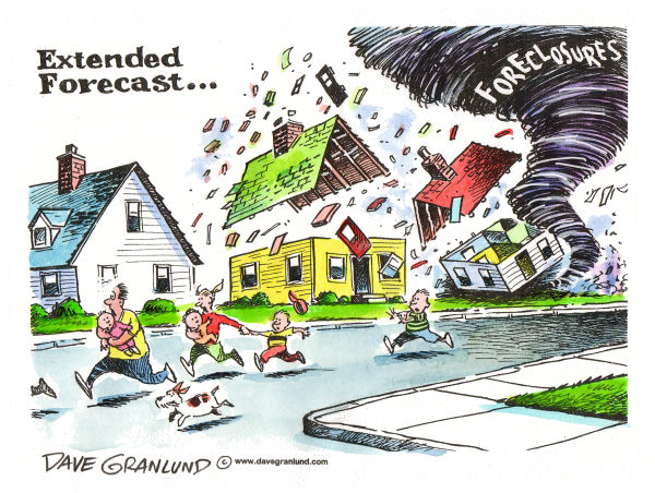 More Foreclosures © Dave Granlund,Politicalcartoons.com,foreclosures, more foreclosures, housing, defaults, loan defaults, subprime, sub-prime, sub-prime loans, recession, jobs, job losses