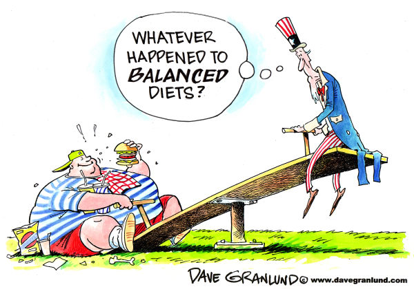 Unbalanced diets © Dave Granlund,Politicalcartoons.com,diets, obesity, obese children, obesity, fat, overweight, overweight kids, eating habits, fast food, super-sized, junk food, us obesity, uncle sam, weight gain, dieting