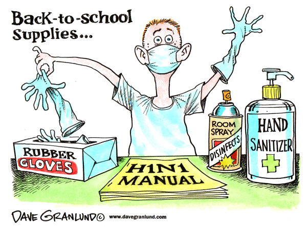 67963 600 School supplies and H1N1 cartoons
