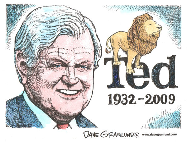Ted Kennedy Tribute © Dave Granlund,Politicalcartoons.com,ted Kennedy, teddy, ted,sen kennedy, edward m kennedy, hyannis, kennedy dies, kennedy tribute, senate, senator kennedy, congress, kennedy obit, ted tribute, liberal lion, lion of the senate, senate lion