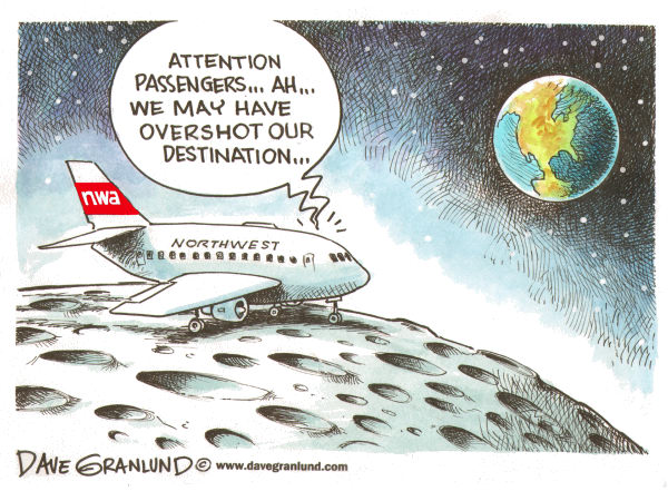Dave Granlund - Politicalcartoons.com - Pilots overshoot destination - English - pilots, northwest, delta, overshot, overshoot, airport, minneapolis, minnesota, sleeping pilots, nw, nwa, northwest airlines, 150 miles, pilot error, airlines, aircraft, jet, passengers