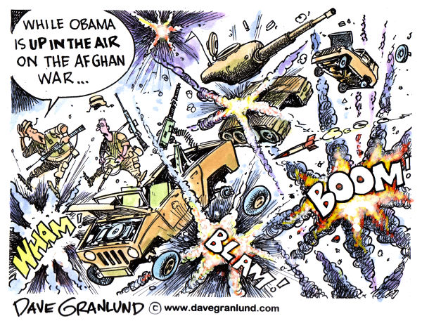Obama and Afghanistan War © Dave Granlund,Politicalcartoons.com,Obama, afghan, afghanistan war, war decision, afghans, taliban, soldiers, troops, afghan rebels, afghan decision, barack obama, war, combat, battle plan, exit strategy